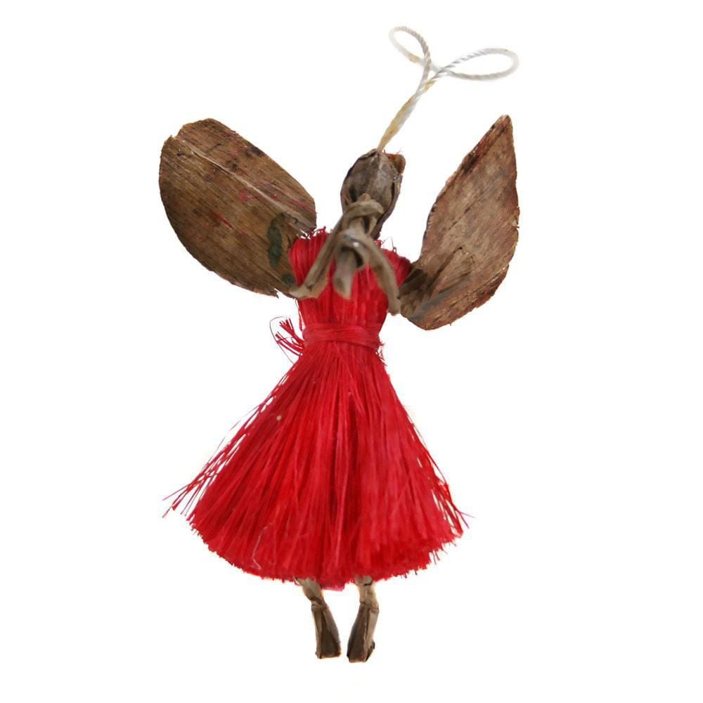 Small Angel with Flute Sisal Hanging Decoration Shared Earth