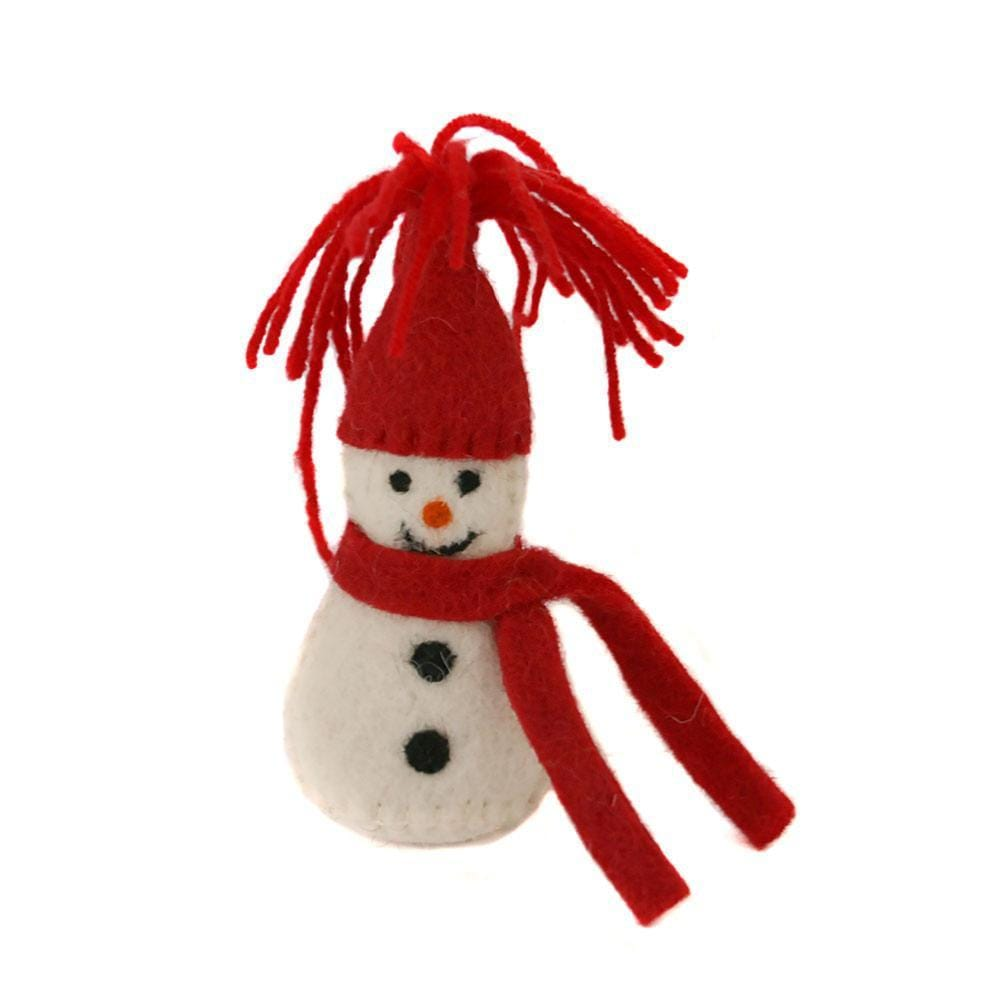 Snowman in Hat Felt Hanging Decoration Shared Earth &Keep
