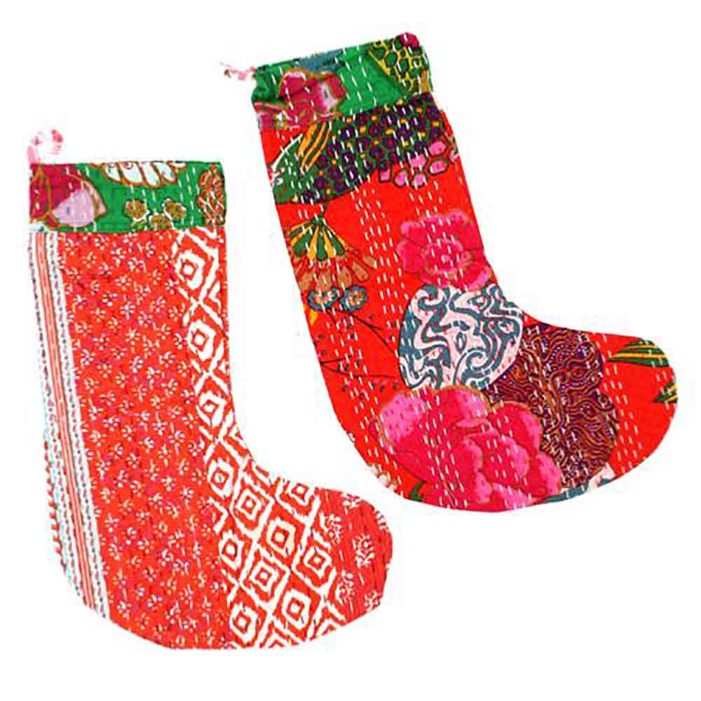Upcycled Kantha Christmas Stocking &Keep