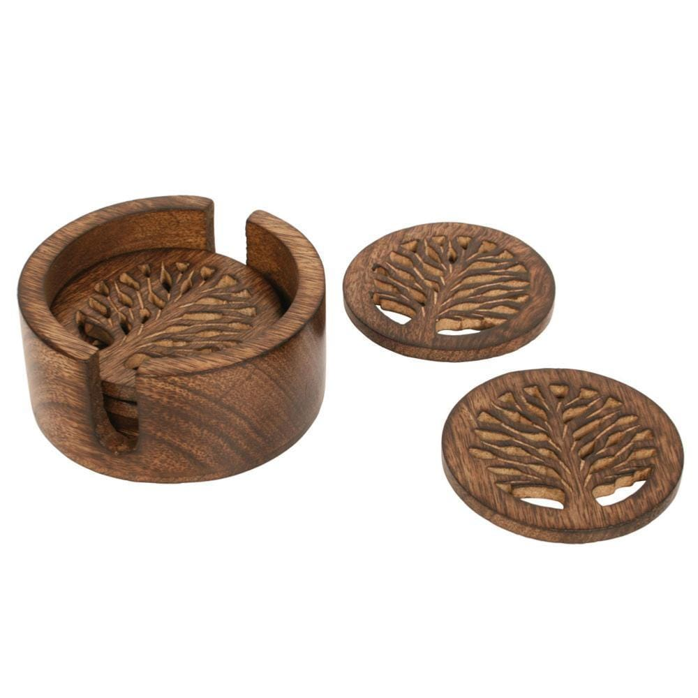 Set of 6 'Tree of Life' Mango Wood Coasters & Holder &Keep