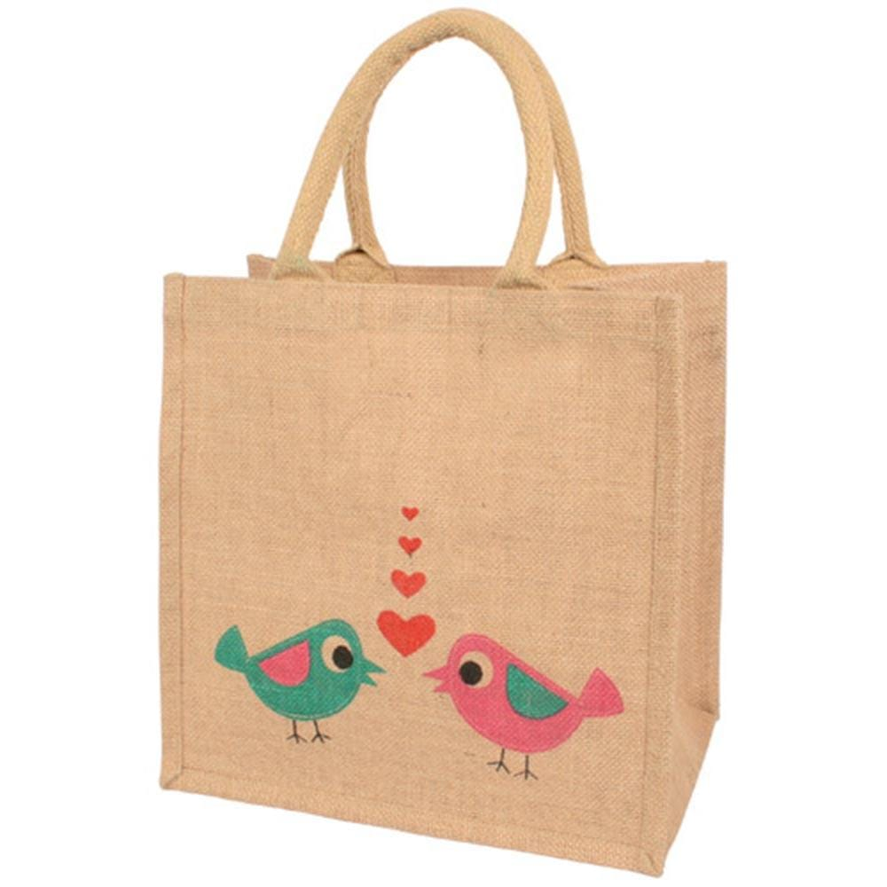 Medium Jute Bag by Shared Earth - Love Birds &Keep