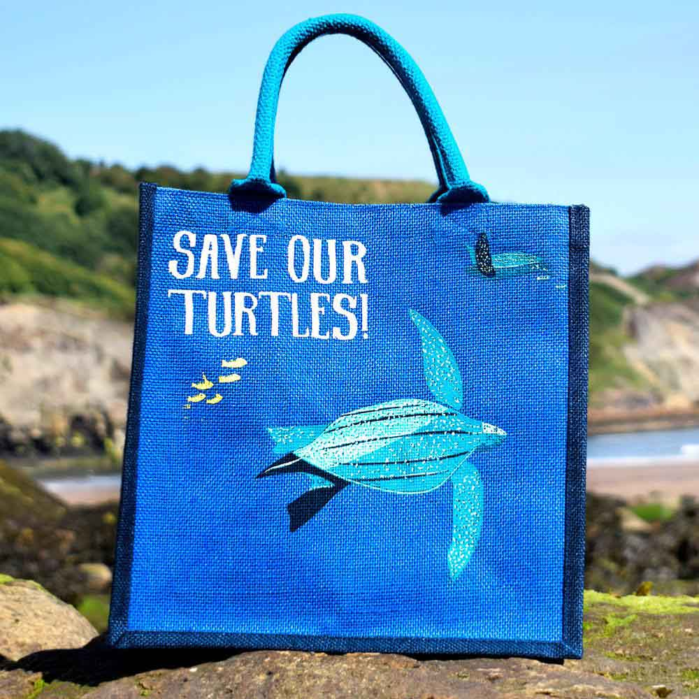 Medium Jute Bag by Shared Earth - Save Our Turtles &Keep