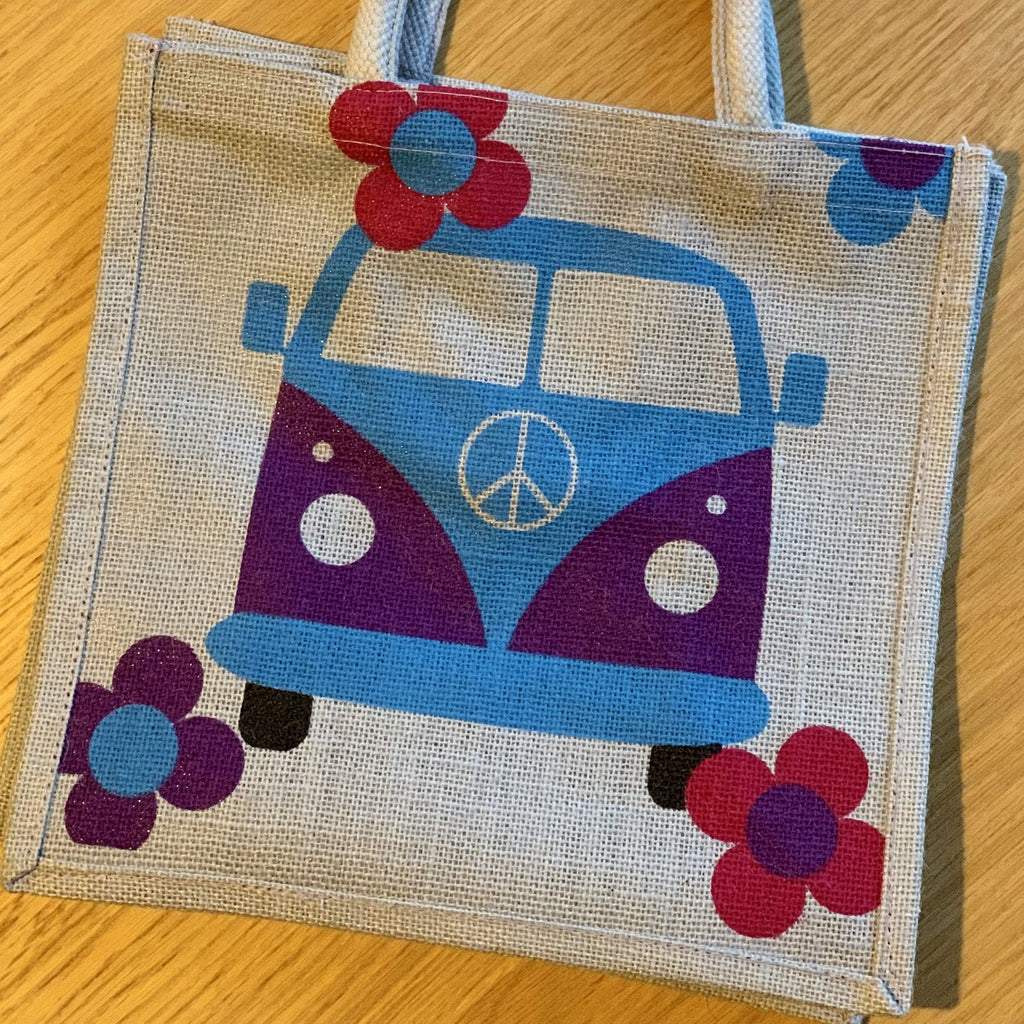 Medium Jute Shopping Bag by Shared Earth - Campervan