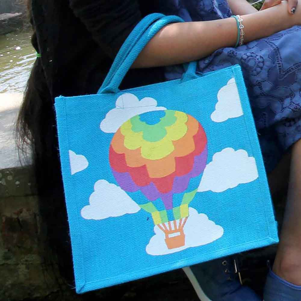 Medium Jute Shopping Bag by Shared Earth - Hot Air Balloon &Keep
