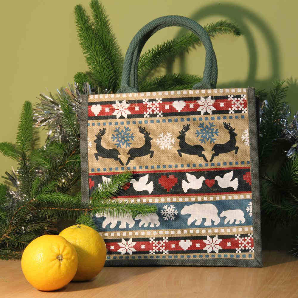 Square Jute Shopping Bag by Shared Earth - Winter Animals &Keep