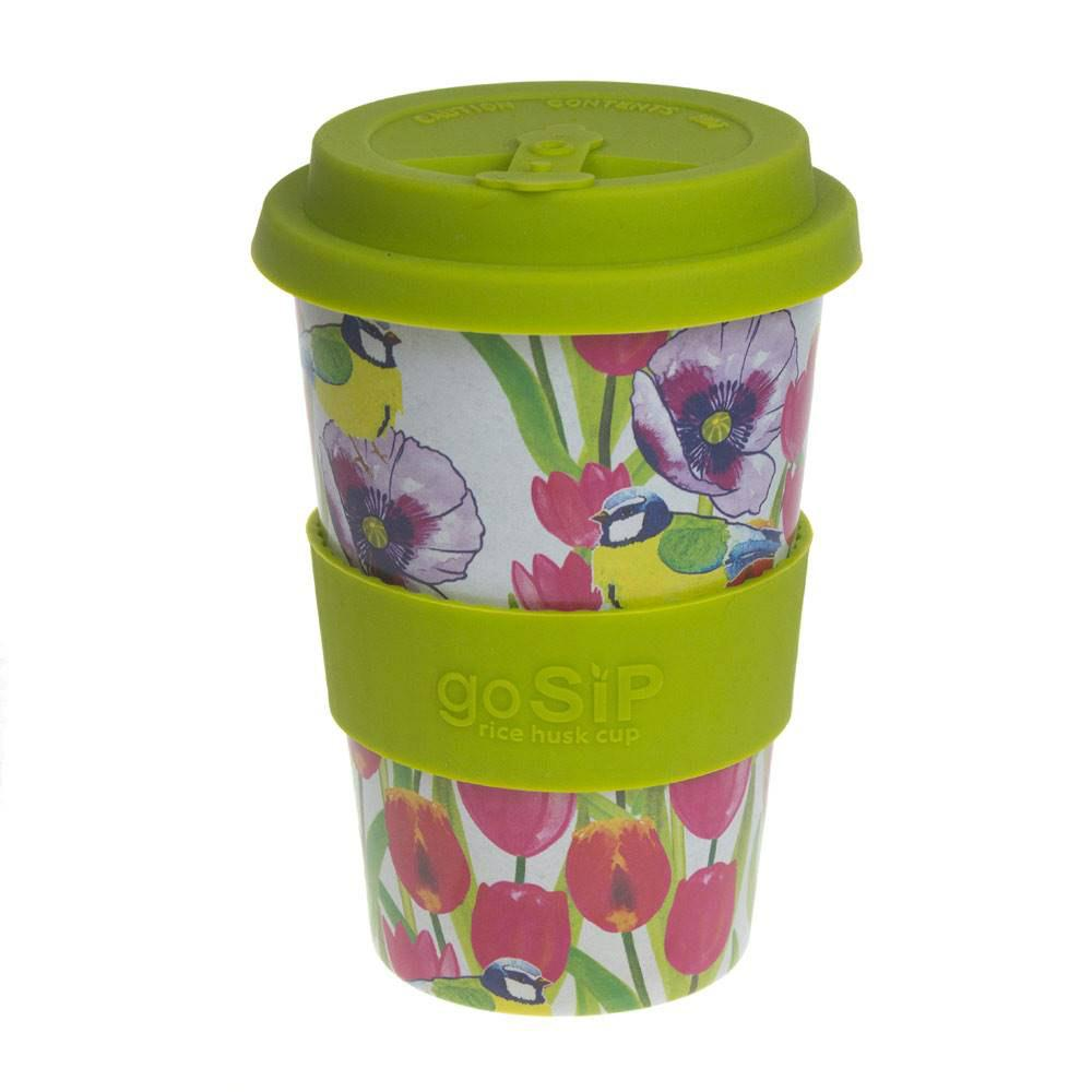 goSIP Biodegradable Rice Husk Coffee Cup 14oz (400ml) - Blue Tit and Tulips &keep