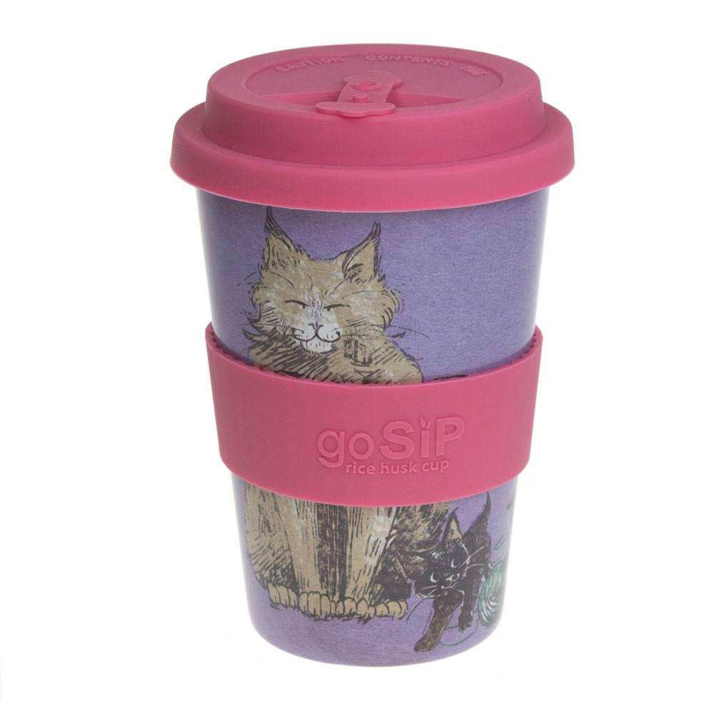 goSIP Biodegradable Rice Husk Coffee Cup 14oz (400ml) - Feline Fun &Keep