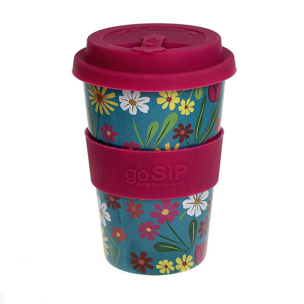 goSIP Biodegradable Rice Husk Coffee Cup 14oz (400ml) - Folk Florals Turquoise &Keep