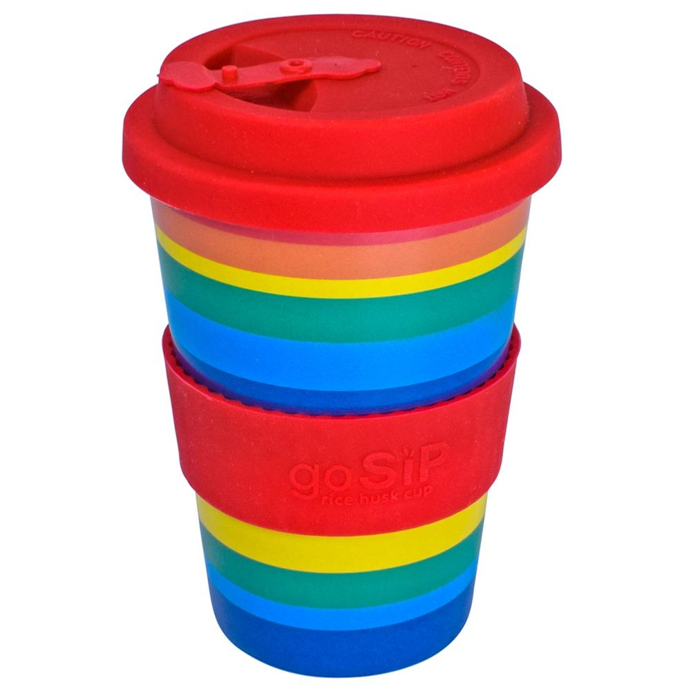 goSIP Biodegradable Rice Husk Coffee Cup 14oz (400ml) - Rainbow &Keep