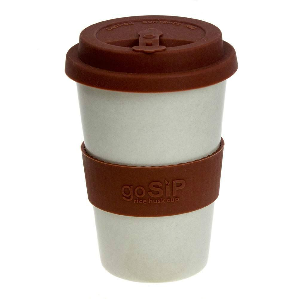 goSIP Biodegradable Rice Husk Coffee Cup 14oz (400ml) - Vanilla Mocha &KEEP