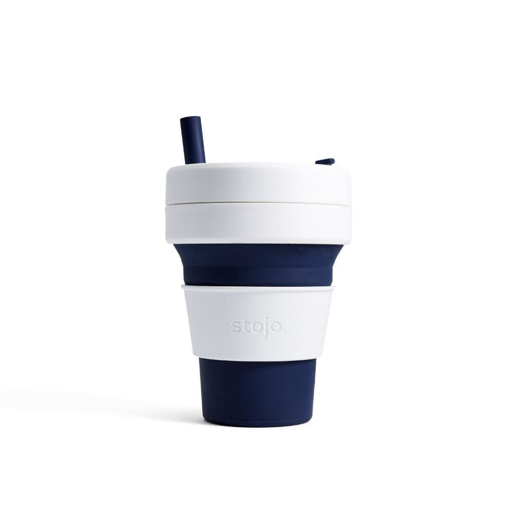 Stojo Stojo Biggie Collapsible Coffee Cup With Straw 16Oz (473Ml) - Indigo &keep