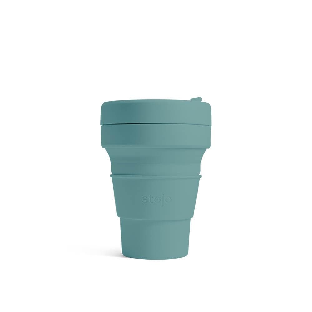 Stojo Pastel Collapsible Coffee Cup 12oz (355ml) - Eucalyptus &Keep