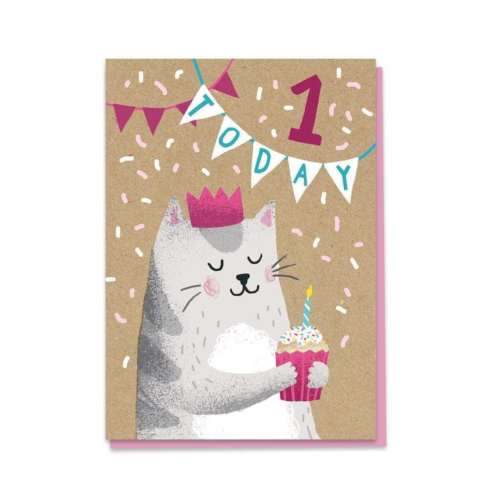 1st Birthday Cat - Recycled Charity Greetings Card Stormy Knight &Keep