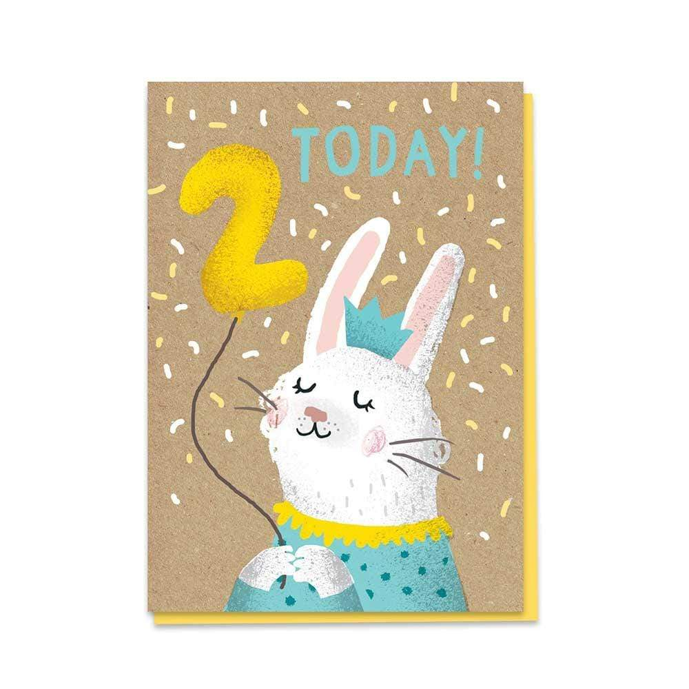 2nd Birthday Bunny - Recycled Charity Greetings Card &Keep