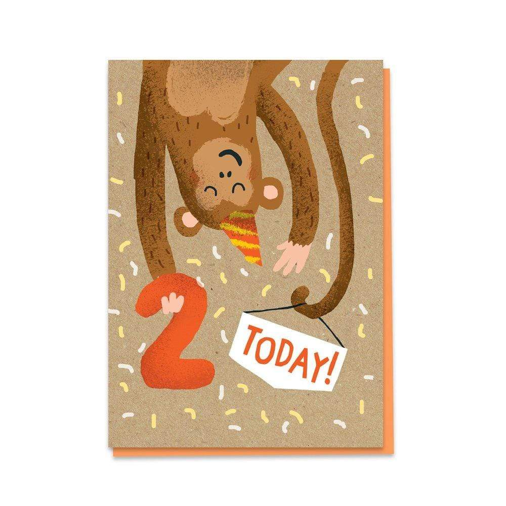2nd Birthday Monkey - Recycled Charity Greetings Card &Keep