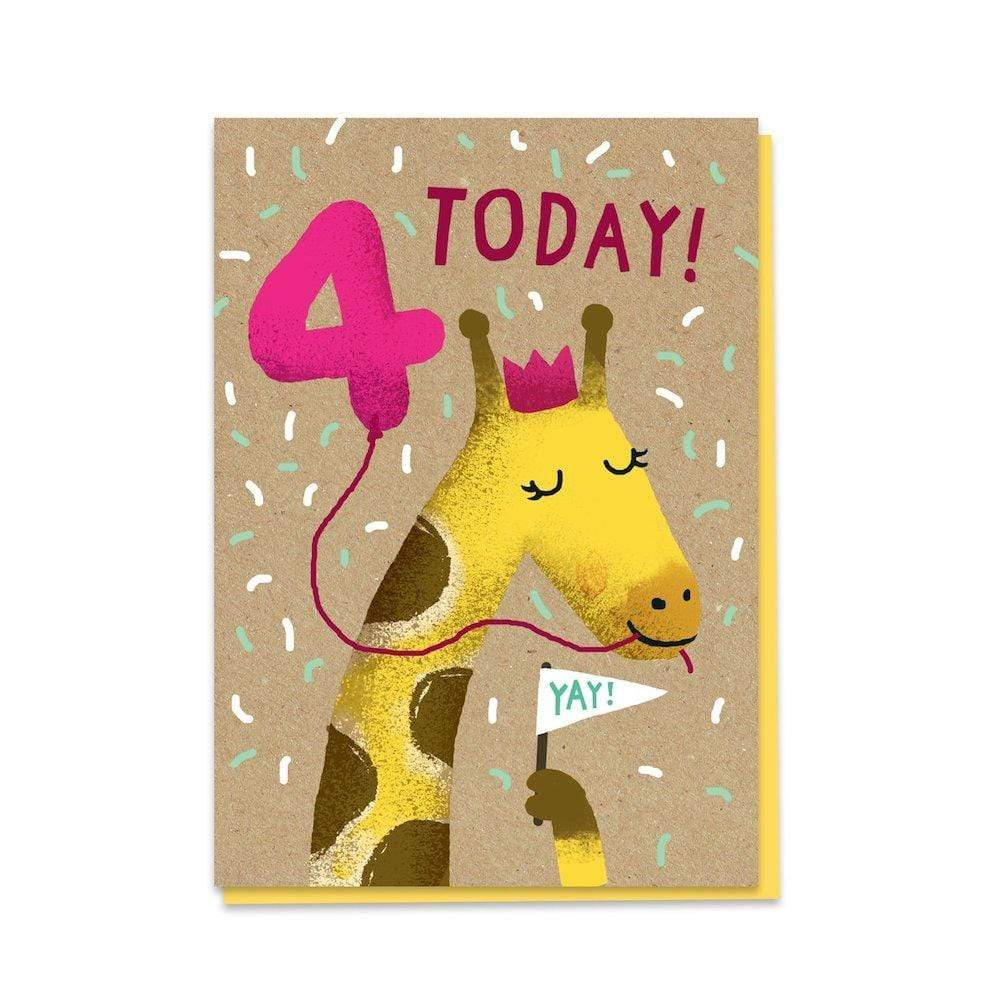 4th Birthday Giraffe - Recycled Charity Greetings Card Stormy Knight &Keep
