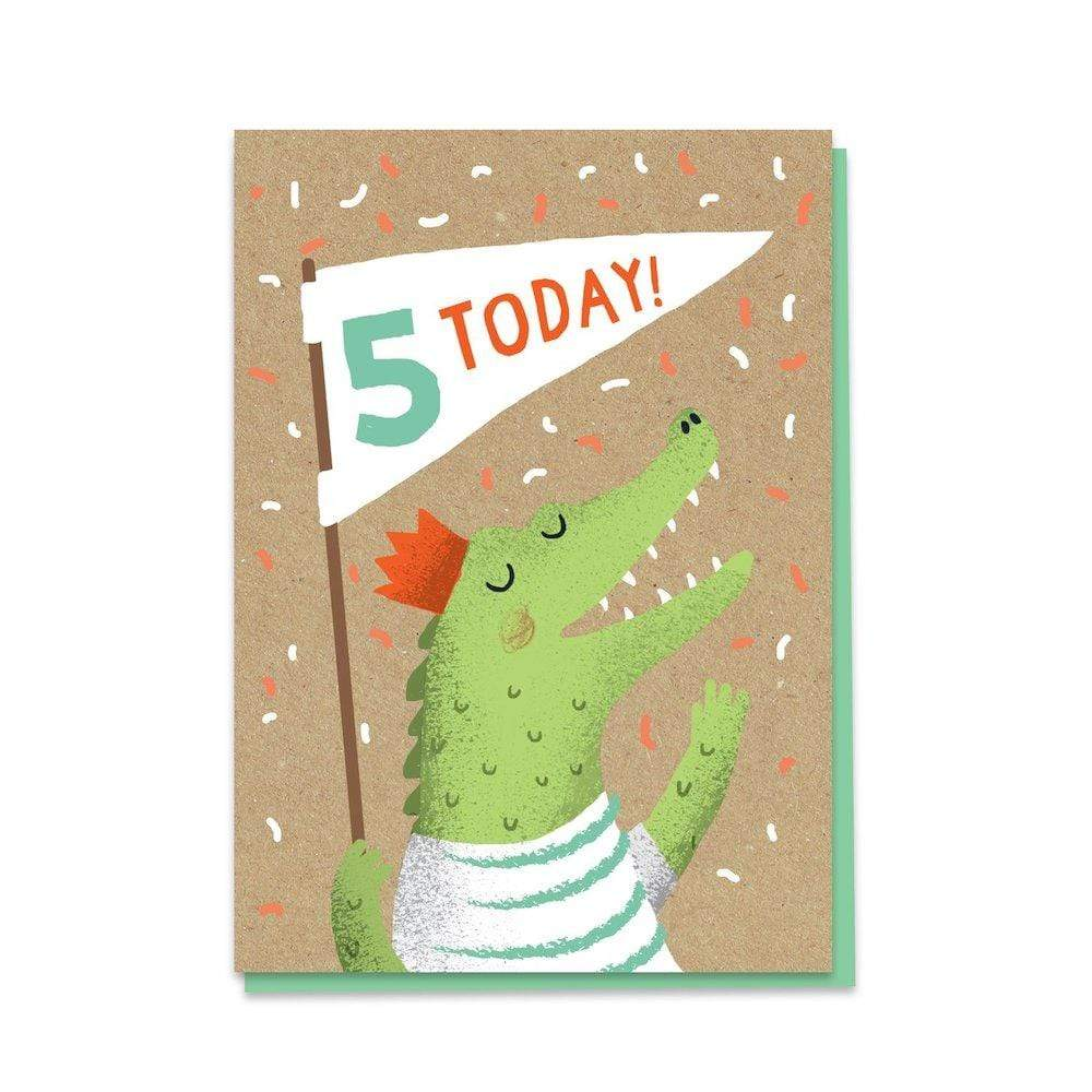5th Birthday Crocodile - Recycled Charity Greetings Card Stormy Knight &Keep