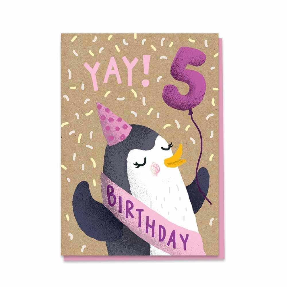 5th Birthday Penguin - Recycled Charity Greetings Card &Keep