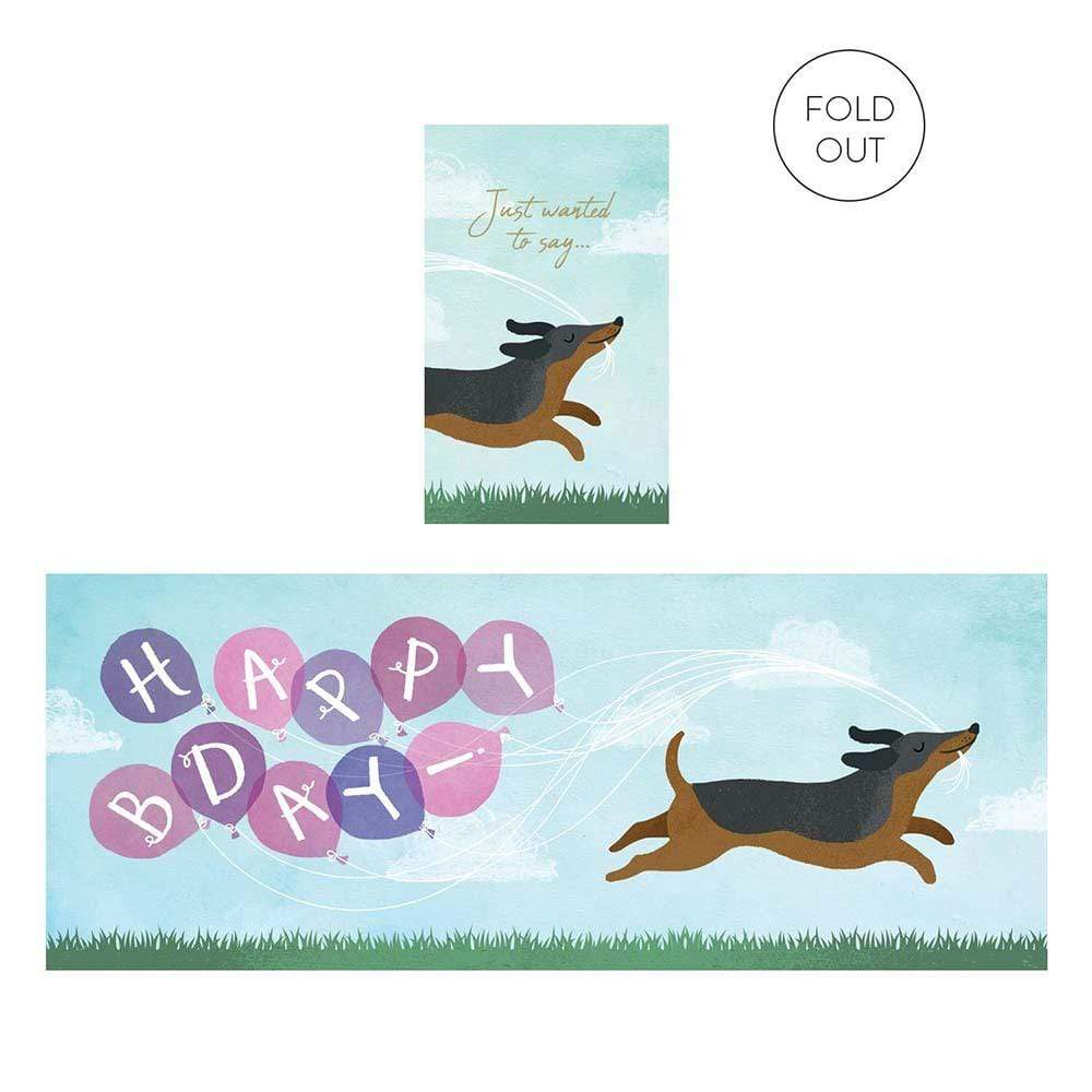 Birthday Sausage Dog Concertina Greetings Card &Keep