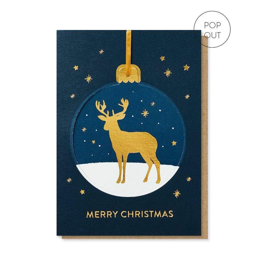 Golden Deer Pop-Out Bauble Christmas Card Stormy Knight &Keep
