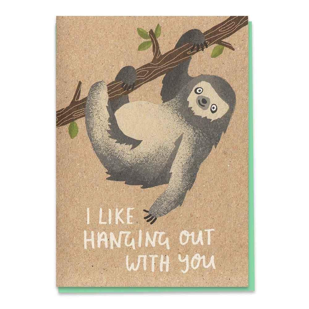 Hanging Out Sloth - Recycled Greetings Card &Keep