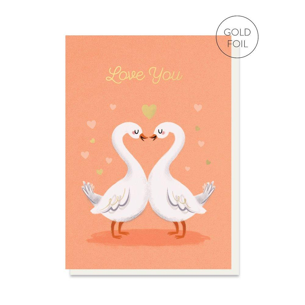 Love Swans Greetings Card Stormy Knight &Keep