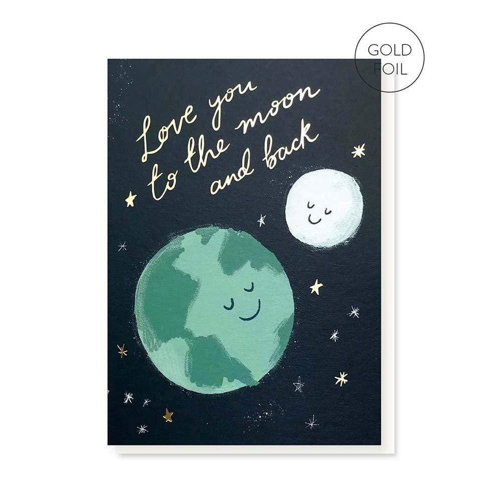 Moon & Back Greetings Card &Keep