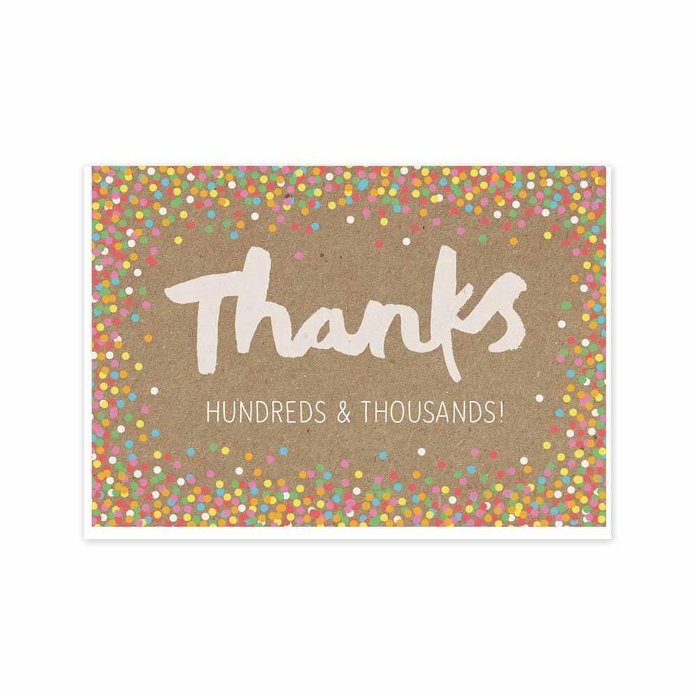 Thanks Hundreds & Thousands - Recycled Greetings Card &Keep