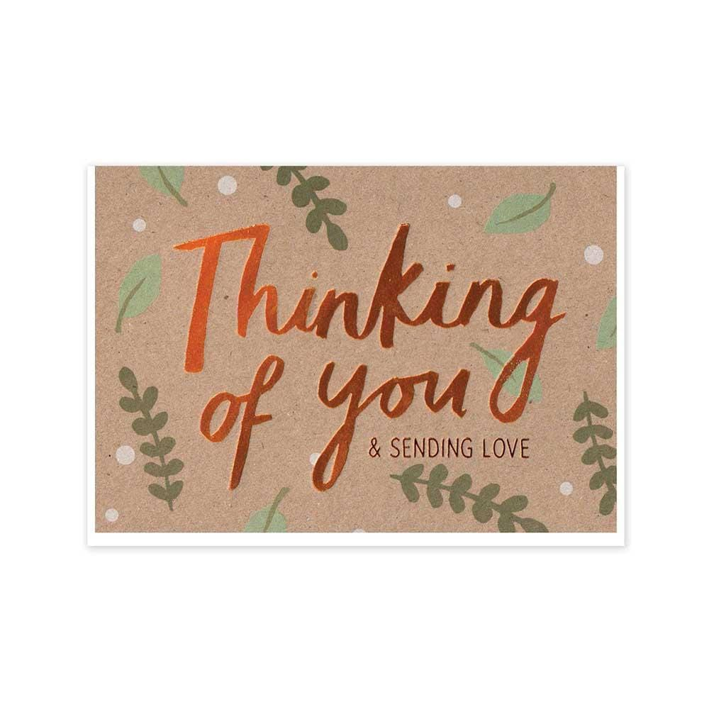 Thinking Of You Sending Love - Recycled Greetings Card &Keep