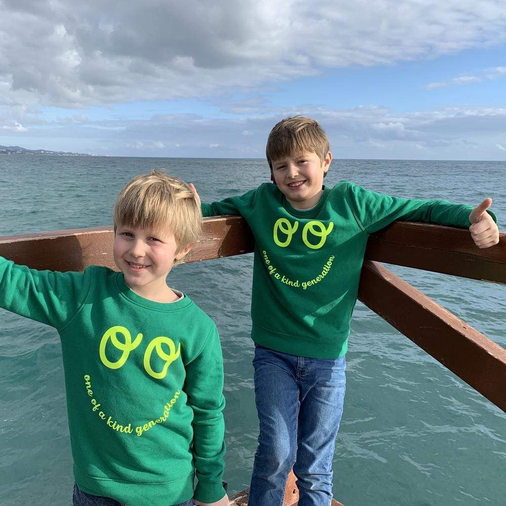 One of a Kind Kids Organic Cotton Sweatshirt - Green by The Kindness Co-op &Keep