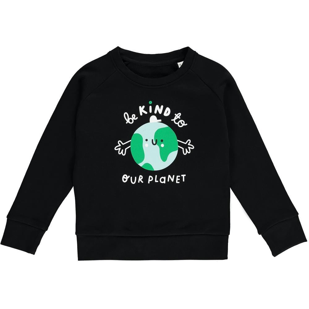 Planet Kind Kids Organic Cotton Sweatshirt - Black by The Kindness Co-op &Keep