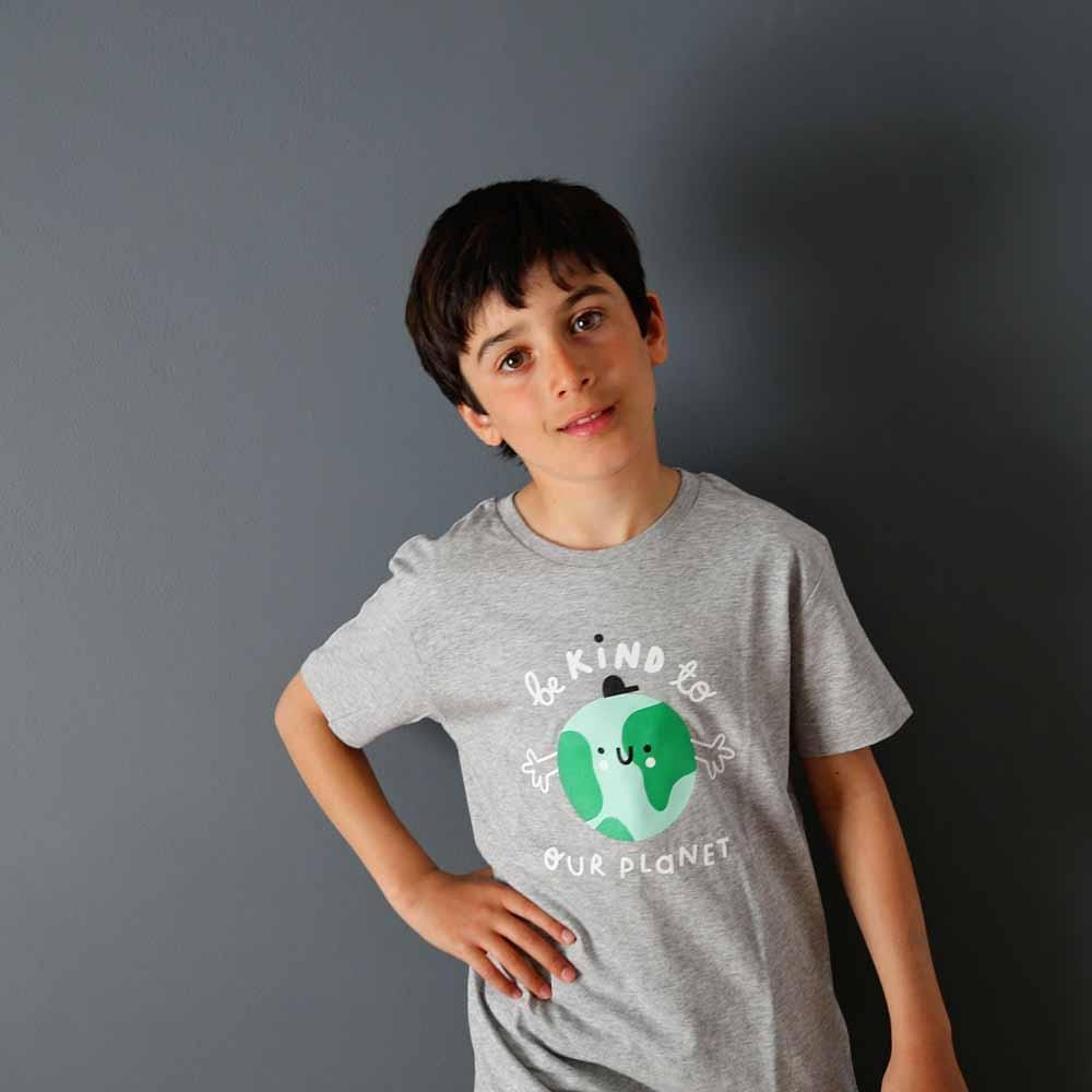 Planet Kind Kids Organic Cotton T-Shirt - Grey by The Kindness Co-op &Keep