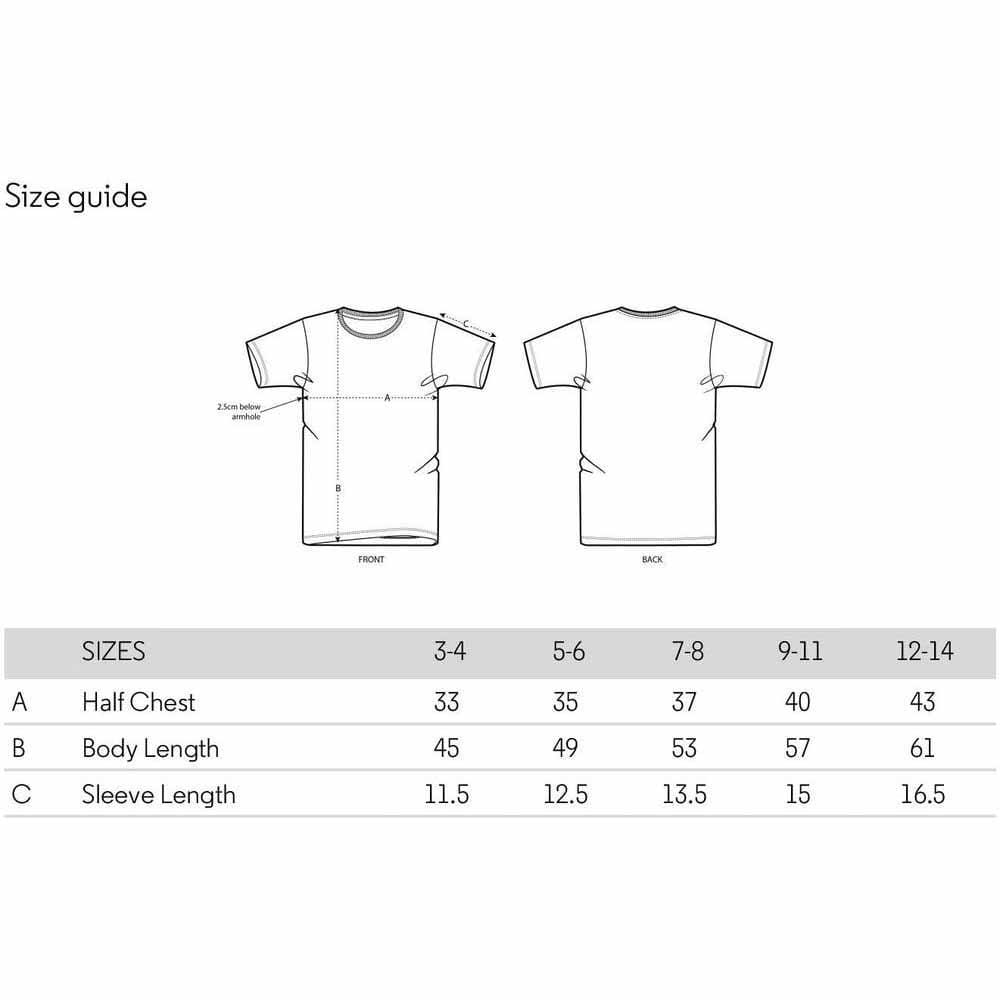 Size Guide Kids Organic Cotton T-Shirt The Kindness Co-op &Keep