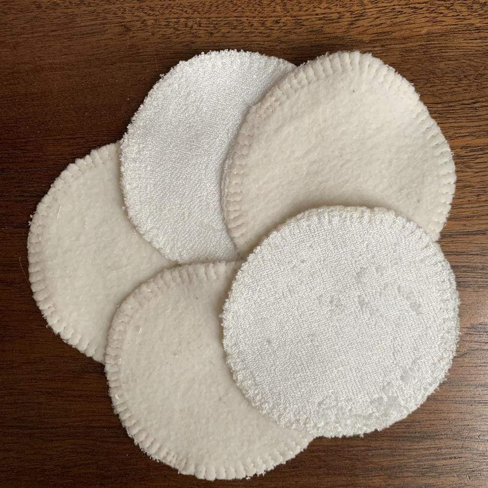 The Stitchery Washable Dual-Sided Bamboo Make-Up Pads - 10 Round White &Keep