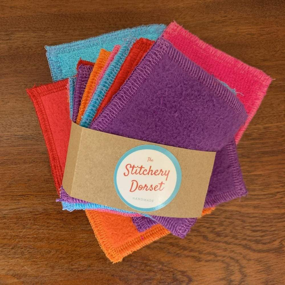 The Stitchery Washable Dual-Sided Bamboo Make-Up Pads - 10 Square Coloured &Keep