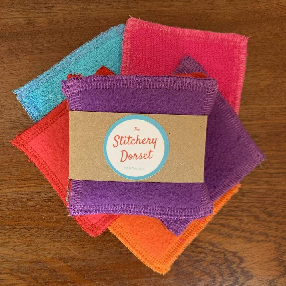 The Stitchery Washable Dual-Sided Bamboo Make-Up Pads - 5 Square Coloured &Keep