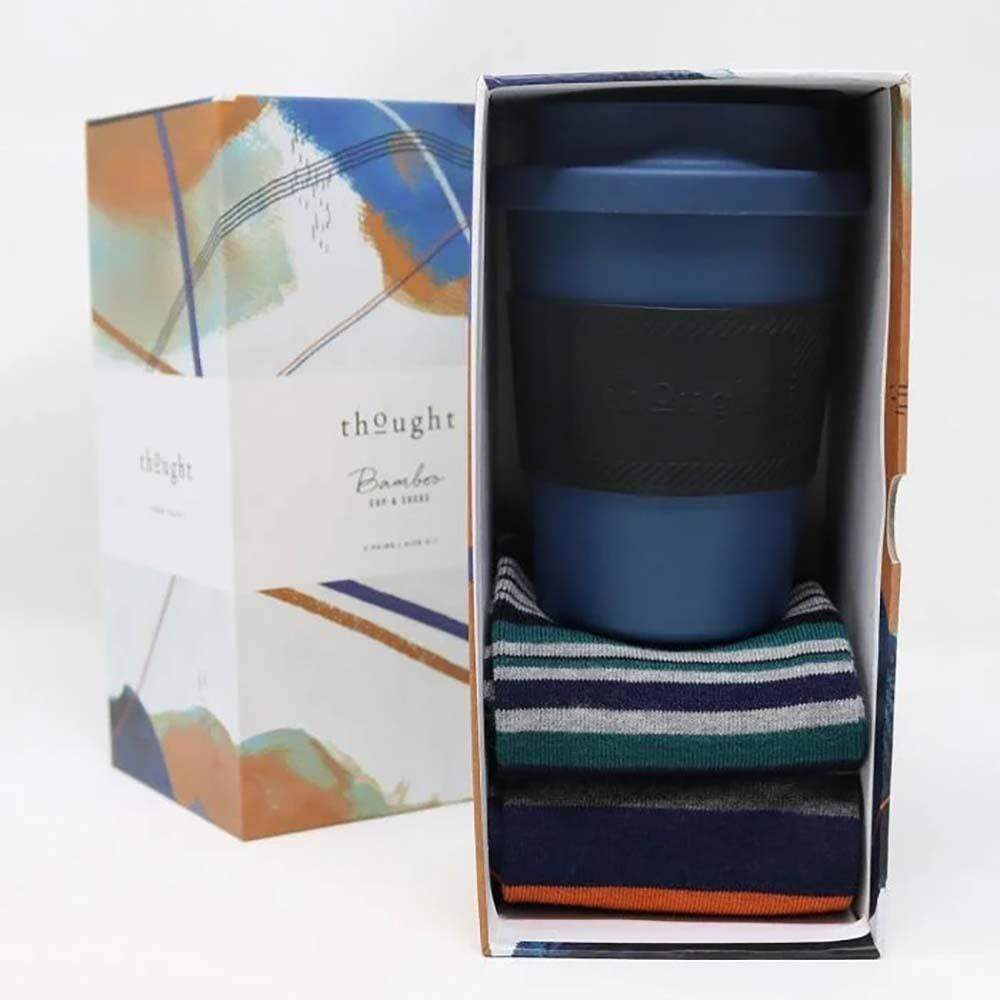 Bamboo Coffee Cup & 2 Pairs Men's Socks Gift Box Thought &Keep