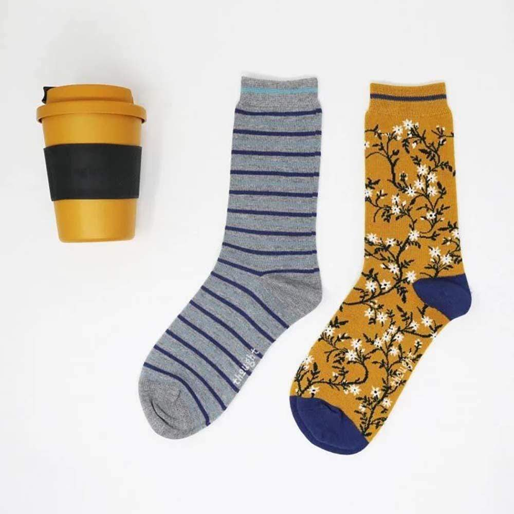 Bamboo Coffee Cup & 2 Pairs Women's Socks Gift Box Thought &Keep