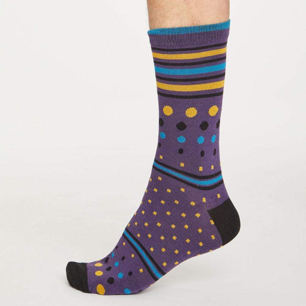 2-Pack of Men's Classic Bamboo Socks by Thought Clothing - Vivid Spot and Stripe &Keep