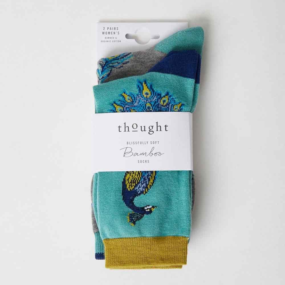 2-Pack of Women's Peacock Bamboo Socks by Thought &Keep