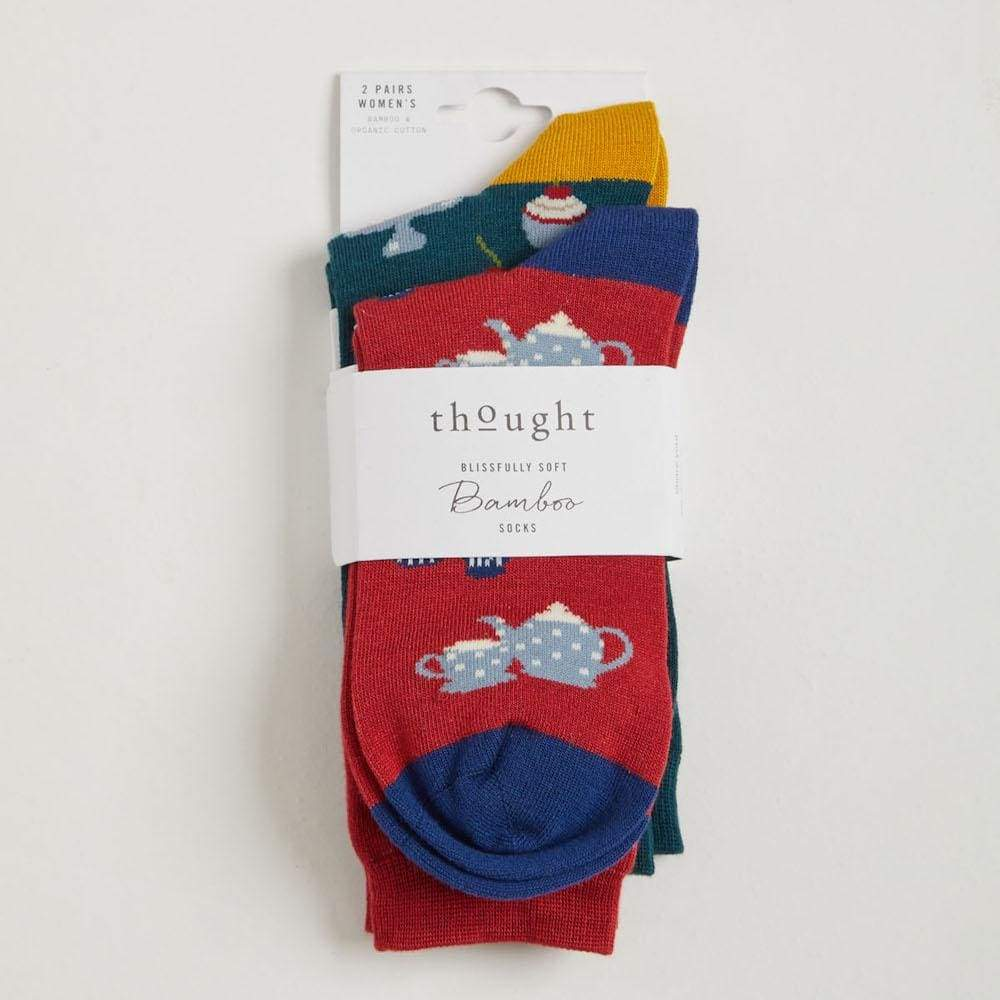 Thought 2-Pack of Womens Tea and Cake Bamboo Socks by Thought &Keep