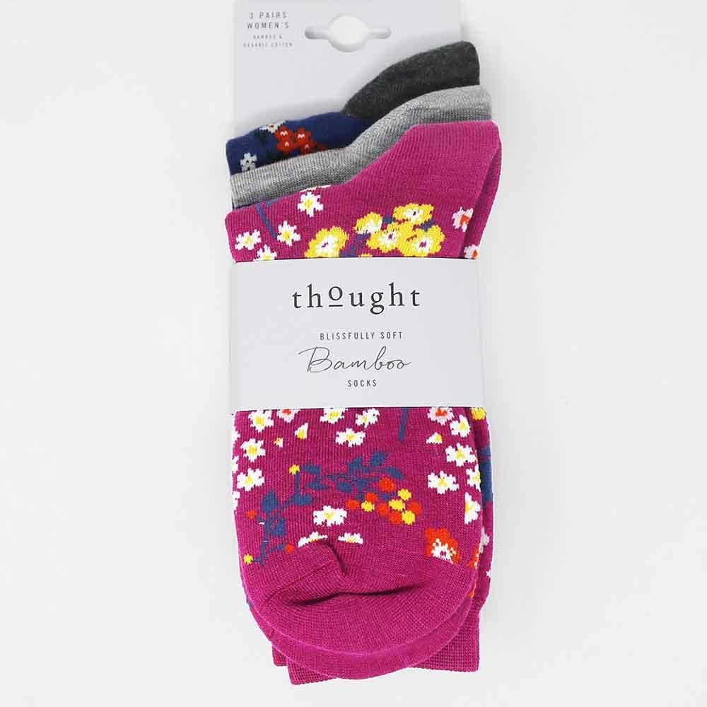 3-Pack of Women's Floral Bamboo Socks by Thought &Keep