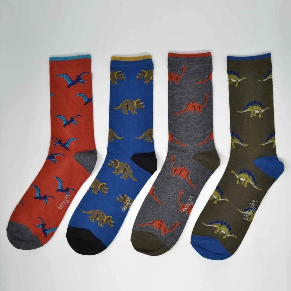 Gift Box of 4 Men's Bamboo Dinosaur Socks by Thought &Keep