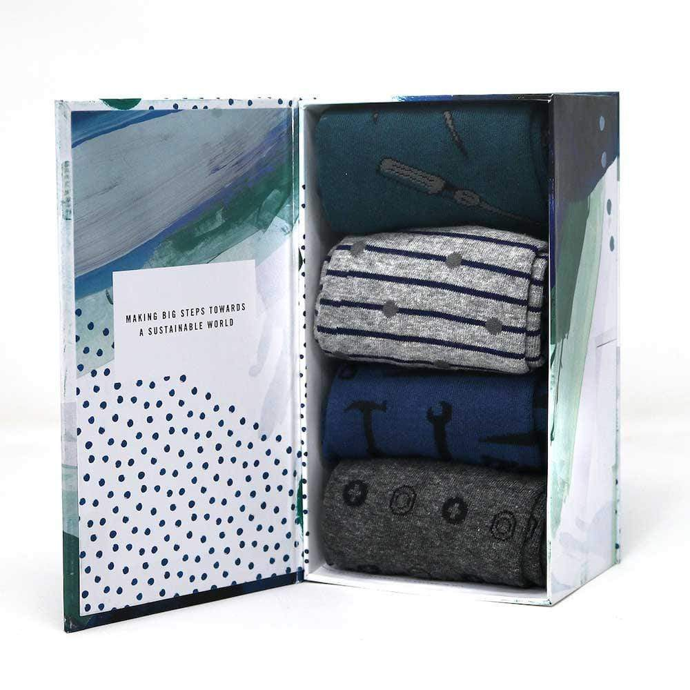 Gift Box of 4 Men's Bamboo Socks by Thought - Toolkit &Keep