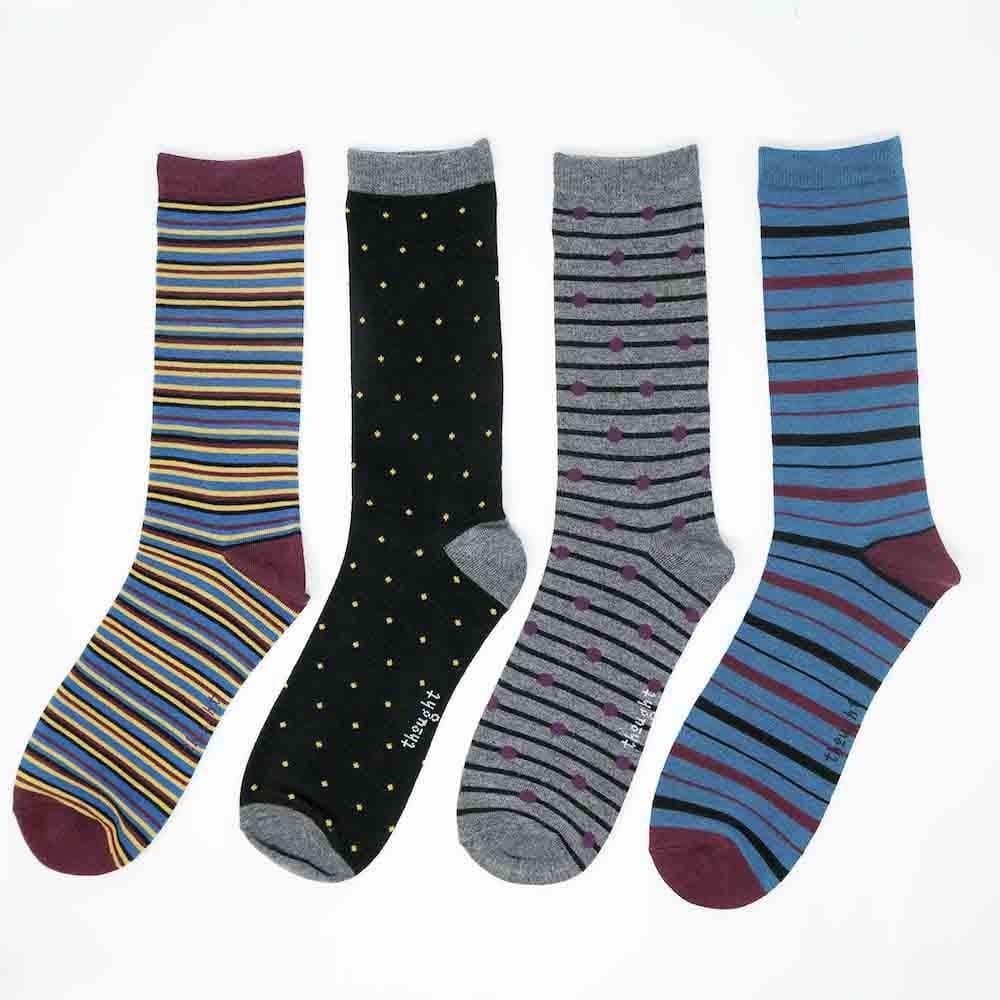 Gift Box of 4 Men's Bamboo Spot & Stripe Socks by Thought