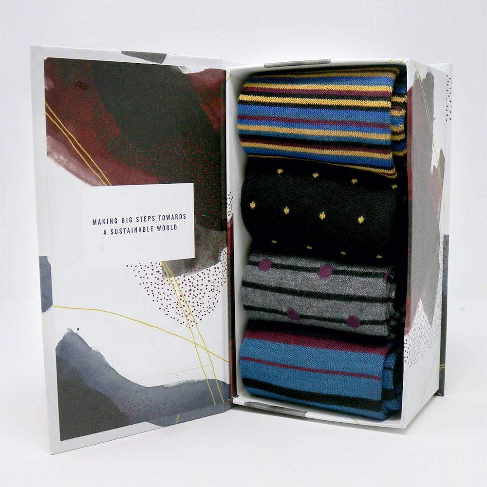Gift Box of 4 Men's Bamboo Spot & Stripe Socks by Thought &Keep
