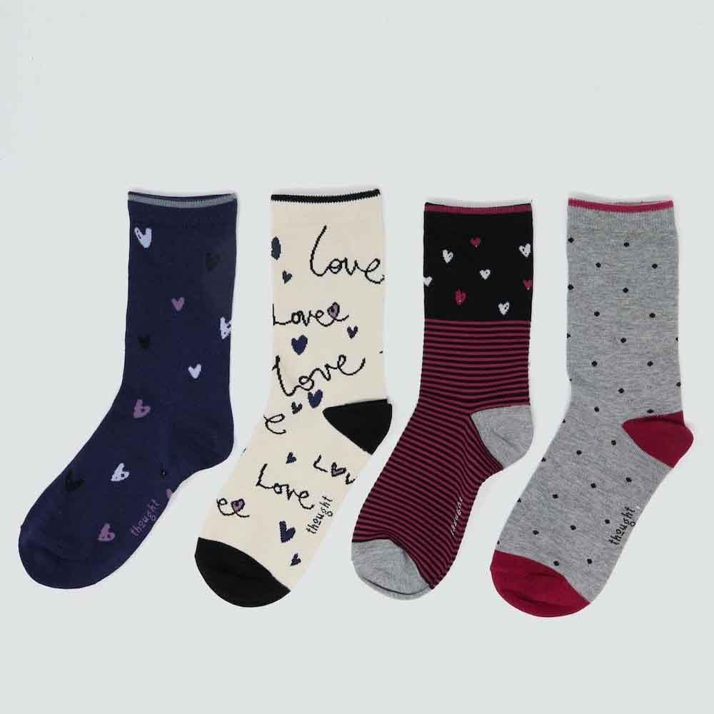 Gift Box of 4 Women's Bamboo Socks by Thought - Amore &Keep