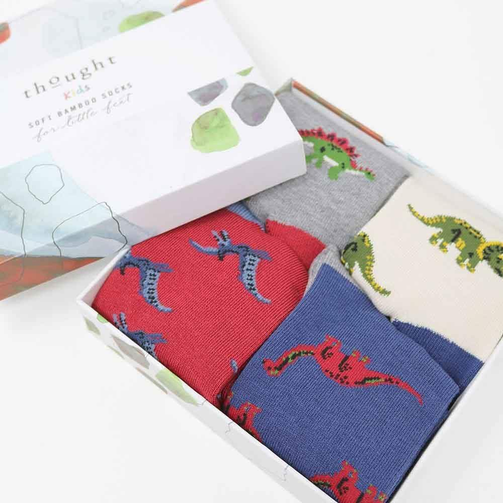 Gift Box of Children's Bamboo Socks - Dinosaurs Thought Clothing &Keep