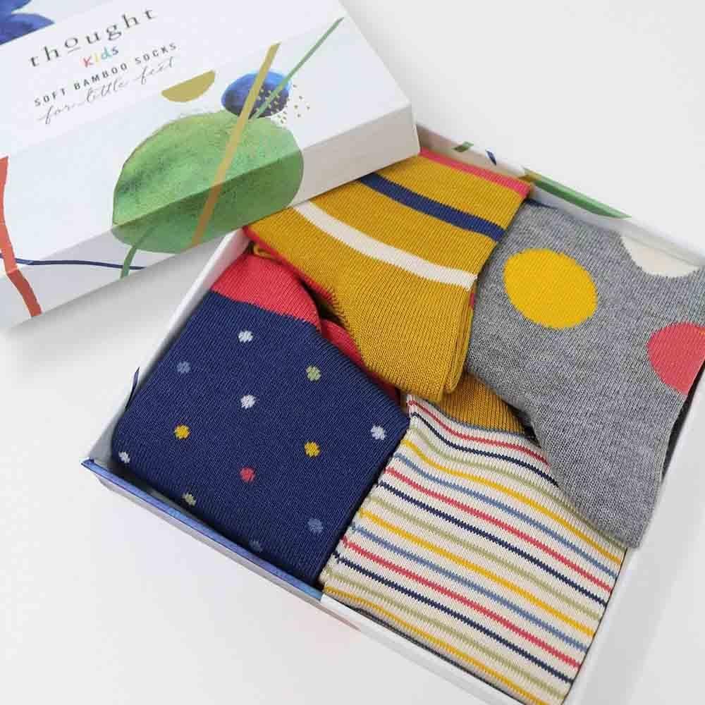 Gift Box of Children's Bamboo Socks - Spots & Stripes Thought Clothing &Keep
