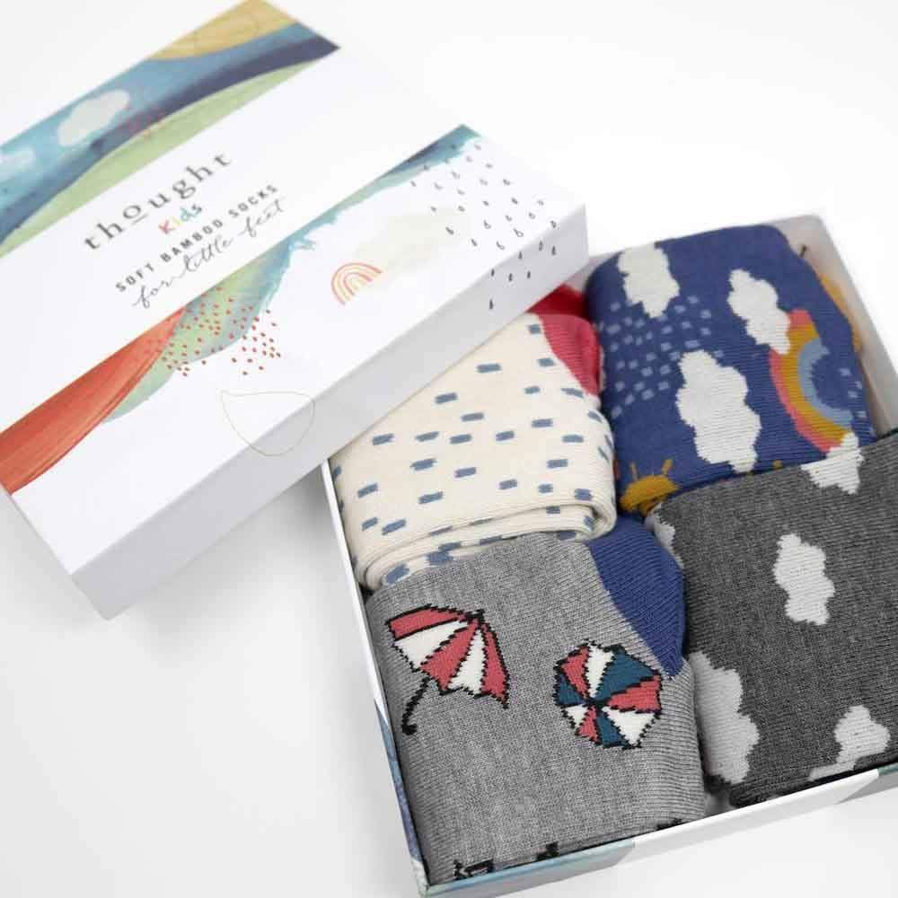 Gift Box of Childrens Bamboo Socks - Overcast Weather &Keep